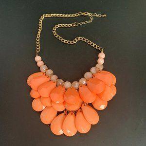 Jewelry - Pretty Coral Multi Layer Beaded Bib Necklace
